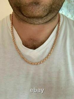 14k Rose Gold Over Solid 925 Sterling Silver Men's Rope Chain Heavy 5mm Italie