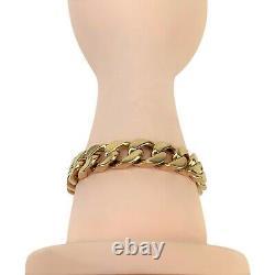 14k Rose Or 54.6g Solide Épais 10mm Cuban Curb Link Bracelet 8