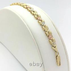 14k Tri Color Yellow White Rose Solid Gold 6 MM Flower Bracelet 8 Inches Heavy