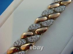 18 K. Rose & White Gold Super Heavy 60,7 Grams Unisex Diamond Link Bracelet 7,25