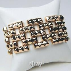 18 Kt Rose Gold Heavy Retro Art Flexible Lien Brick Motif Bracelet 7 1/8 A3197