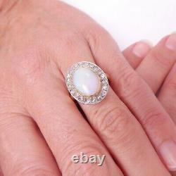 18ct Or Opale Ardente Bague En Diamant Taille Rose, Grande Art Déco Lourde
