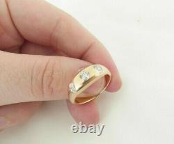 18ct Or Rose Vieux Diamant Taille Bague Tzigane, Victorien 3 Pierre Lourde 7,9 Grammes