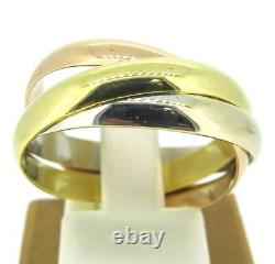 18k Yellowithwhite/rose Gold Tri-color 3mm Heavy Rolling Wedding Band Ring Taille 10