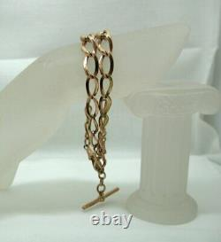 1915 Superb Quality Heavy 9 Carat Rose Gold Double Albert Watch Chain
