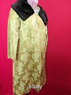1950 Vintage Gold Rose Heavy Brocade Opera Coat Fur Collar Largesatin Doublé