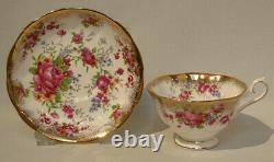 1960 Royal Albert Rose Boouquet Floral Cup & Saucer Dorure D'or Lourd Mint