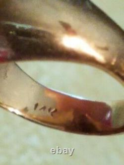 1980's 14k Solide Solide Rose Or Fabriqué Sur Mesure Dôme Anneau- Taille 4 (7,2 Grammes D'or)