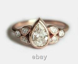 2.59ct Pear Cut Diamond Fiançailles Bague Lourde Solide 14k Rose Or