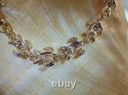8.5mm Hawaiian 2 Tons Solid 14k Yellow Rose Gold Heavy Honu Turtle Bracelet 7