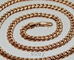 9ct Rose Gold On Silver Heavy Solid Cuban Curb Chain 22 Pouces Homme Ou Dames