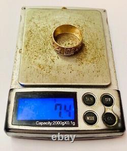 9ct Rose Or Gallois Dragon Modèle Celtique Gents Anneau De Mariage Lourd 7.4g