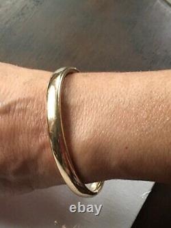Antique 10k Solid Yellowithrose Heavy Gold Bangle Bracelet 13 Grammes Art Déco Estate