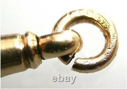 Antique 9ct Rose Gold Dog Clip Heavy Duty Albert Chain Fastener Edwardian Ère