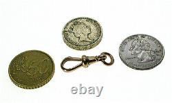 Antique 9ct Rose Gold Dog Clip Heavy Duty Swivel Albert Chaîne Fixation Edwardian