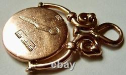 Antique Anglais Maçonnique 9 Ct Rose Montre Spinner D'or Fob Lourd 10,8 Grams