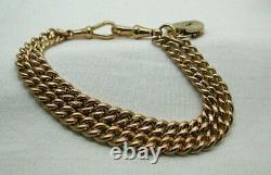 Antique Fabulous Quality Heavy 9 Carat Rose Gold Double Row Albert Bracelet