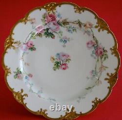 Antique Haviland Limoges Assiette Rose Et Bleu Rose Avec La Main Enamel Et L'or Lourd