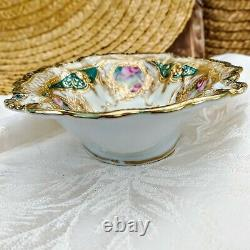Antique Heavy Gold Relief Nippon Oval Bowl Painted Purple Roses 7.75