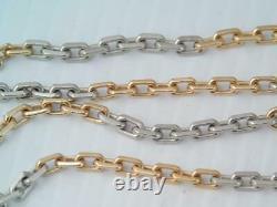 Antique Heavy Solid 14k Rose Gold & Platinum Pocket Watch Chain Collier 19.2 G