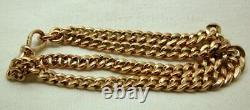 Antique Heavy Super Quality 9 Carats Rose Gold Double Row Albert Bracelet