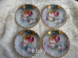 Antique Lk Limoges Peint Roses Florales Lourdes Or Porcelaine Dessert Assiette