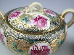 Antique Nippon Heavy Beaded Moriage Hand Painted Roses Sugar Bowl And Creamer