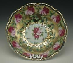Antique Nippon Heavy Gold Bold Roses Bowl Maple Leaf Mark C. 1890's