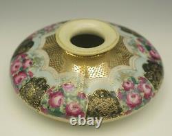 Antique Nippon Moriage Heavy Gold Roses Black Large Squat Vase 8 Feuille D'érable