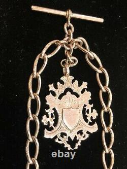 Antique Solid 9 Ct Rose Gold Double Clip Albert Watch Chain W Fob Heavy 48.2 Gr