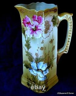 Antique Tall Nippon Tankard Avec Perles D'or Et Roses