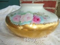 Antique Unmarked Limoges Peint Roses Florales Lourd Or Porcelaine Squatty Vase