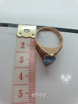 Antique Vintage 9ct Rose Copper Gold Large Heavy Topaz Ring 9k 4.45g 9k Sz N