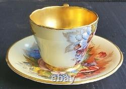 Aynsley Rose De Choux D'or Lourd Signé J. A. Bailey Demitasse Teacup And Saucer