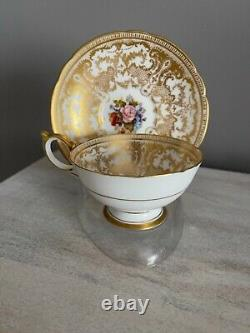 Aynsley Tea Cup Saucer Chabage Rose Heavy Gold Signé Bailey Spectaculaire