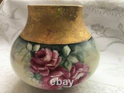 B & C Limoges France Roses Rouges Peintes À La Main/ Vase En Or Épais (600)
