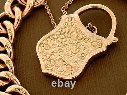 B17 Heavy Genuine 9k Solid Rose Gold Curblink Shield Padlock Bracelet 50g 18.5cm