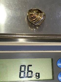 Bague À Dôme Tritone Fluted Sz 7,25 En Or Jaune, Blanc Et Rose 18k 8.6g