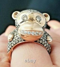 Bague En Or 3tcw Designer Monkey Chocolate Diamond Heavy 14k Rose