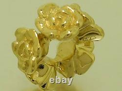 Bd080 Authentique 9ct Solid Gold Roses Garland Heavy Bead Charm Made Solid To Last