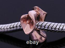 Bd088- Magnifique Real 9k 9ct Rose Massif / Or Rose Perle Lourde Calla Lily Charm