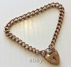 Belle Qualité Ladies Heavy Solid Antique Bracelet Or Rose 9ct Avec Padlock