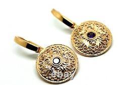 Boucles D'oreilles Véritable Heavy 9ct Solid Rose Gold Antique Sapphire Filigree Drop