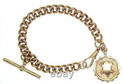 Bracelet Albert Lourd T Bar & Fob 9ct Rose Gold 7 Bracelet