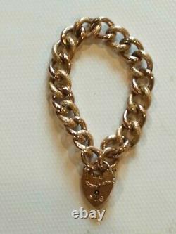 Bracelet Antique De Charme De Lien Lourd D'or Rose Avec Le Grand Médaillon De Coeur. 26,7 Grammes