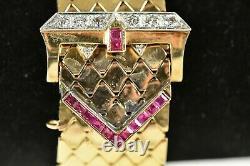 Bracelet Boucle De Ceinture Art Déco 14k Rose Gold Heavy 2,27 Oz Avec Diamants & Rubis