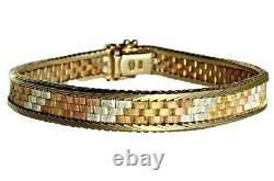 Bracelet Lourd Tricolore En Or Tricolore Jaune Rose Italien 14k