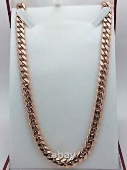 Collier 10k Rose Gold Solid Heavy Cuban Link Chain Collier 20 10mm 130 Grammes