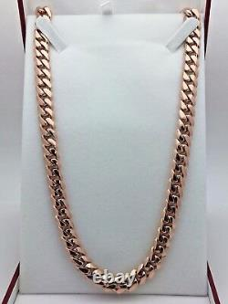 Collier 10k Rose Gold Solid Heavy Cuban Link Chain Collier 24 10mm 155 Grammes