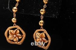 Designer $4000.50ct Boucles D'oreilles En Or Rose 18k Dangle 15g Heavy 2 Long